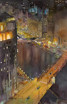 Chicago River . watercolour by John Salminen