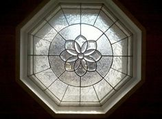 Octagon window with clear textures Custom Stained Glass, Stained Glass Panels, Stained Glass Patterns, Leaded Glass, Mosaic Glass, Small Bathroom Window, Front Doors With Windows, Window Dressings, Glass Blocks
