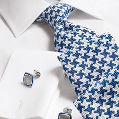 Luxury blue oversized End-on-End puppytooth tie | Luxury ties from Charles Tyrwhitt, Jermyn Street, London
