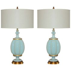 Pair of White Opaline Murano Lamps by The Marbro Lamp Company, 1966 1