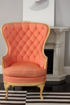 Tufted Wing Back Coral Chair. I love old fancy looking seating Coral Chair, Vintage Furniture, Home Furniture, Furniture Design, Coral Paint Colors, Love Chair, Tufted Chair, Deco Design, Take A Seat