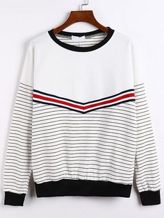 Round Neck Striped Loose Sweatshirt-Romwe--I like the arrow stripe and the fact that the stripes are only on half of it.