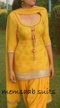 Fit of top Patiala Dress, Punjabi Dress, Patiala Salwar, Punjabi Suits, Pakistani Dresses, Salwar Suits, Indian Dresses, Anarkali, Yellow Punjabi Suit