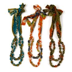 Upcycled from vintage saris, each necklace is a one of a kind treasure that radiates with lively color.
