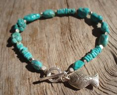 Turquoise & fine silver bracelet with fish by kudzupatch on Etsy, $55.00
