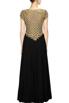 Black embroidered anarkali set available only at Pernia's Pop-Up Shop.