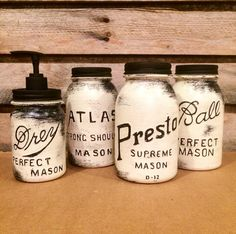 Vintage Mason Jar Canisters Rustic White by AmericanaGloriana