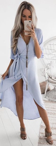 #winter #outfits blue v-neck elbow-sleeved maxi dress