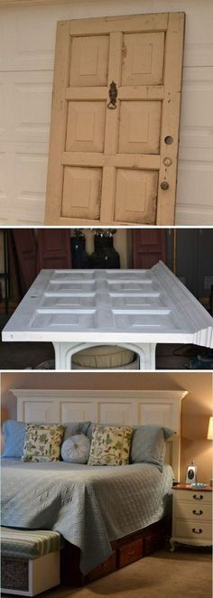 DIY Old Door Repurposed Headboard.....this turned out beautiful....super idea !.