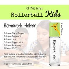 Homework help, Rollerball blends for kids, essential oils