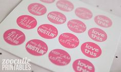 Free Pink Ombre Planners Stickers by Zoo Cutie Printables.
