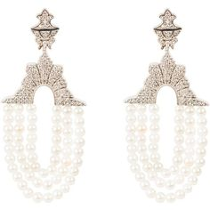 Latelita London - Marrakech Earring pearl ($275) ❤ liked on Polyvore featuring jewelry, earrings, white earrings, earring jewelry, pearl tassel earrings, white tassel earrings and black gold earrings