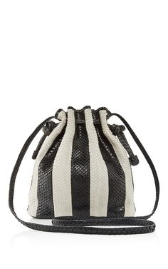 Black & White Striped Python Mini Bucket Bag by HUNTING SEASON Now Available on Moda Operandi
