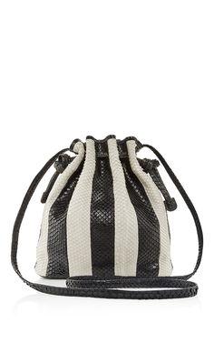Black & White Striped Python Mini Bucket Bag by HUNTING SEASON Now Available on Moda Operandi