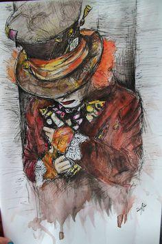 hatter by jessfyffe - superbe sensibilité dans cette aquarelle, j'adore +++++