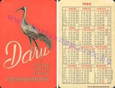 1964 - 1964_0154 - Régi magyar kártyanaptárak Pocket Calendar, Cards, Pockets, Pocket Diary, Maps, Playing Cards