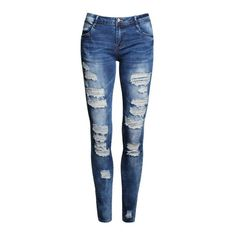 Ladies Cotton Denim Pants Stretch Womens Bleach Ripped Skinny