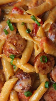 One Pan Cheesy Smoked Sausage & Pasta Re. - One Pan Cheesy Smoked Sausage & Pasta Recipe ~ So yummy and easy You are in the right place about Fa - Smoked Sausage Recipes, Pork Recipes, Cooking Recipes, Sausage Meals, Polish Sausage Recipes, Cheesy Sausage Pasta, Smoked Sausage Pasta Recipes, Healthy Recipes, One Pot Dinners