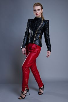 AW 15/16 Collection black quilted leather jacket and red leather pants fashion outfit