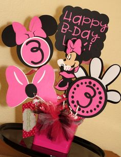 9bffe459a4a Items similar to Minnie Mouse Hot Pink and Black Themed Character Party  Bucket Centerpiece Or Room Decor on Etsy