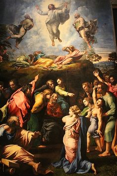 """The Transfiguration by Raphael, Vatican.  We walked thru the whole museum twice until we located the """"Raphael Room""""."""