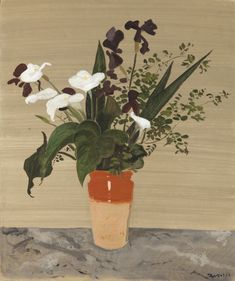 Clay Vase with Flowers by Yiannis Tsarouchis, 1966. Oil on canvas Clay Vase, Bunch Of Flowers, Oil On Canvas, Planter Pots, Greek, Painting, Beautiful, Art, Art Background