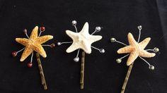 3 Natural Sugar Starfish & Swarovski Colored Pearls Hairpins  - Wedding Hair Accessory, Bride or Wedding Party, Beach Wedding