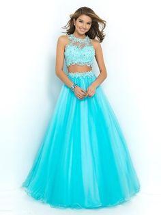 Blau Juwel-Ausschnitt Ärmellos Perlenstickerei Bodenlang Tülle Duchesse-Linie Kleider für 482,60€
