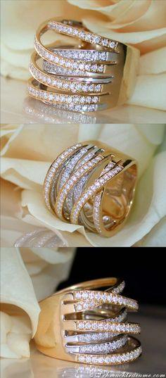 Multi-Row Diamond Ring, 1,37 ct. (G-SI) WG&YG-18K - Visit: schmucktraeume.com - Like: https://www.facebook.com/pages/Noble-Juwelen/150871984924926 - Mail: info@schmucktraeume.com