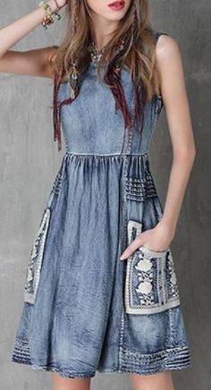 Floral Embroidery Jewel Neck Denim Sundress - Blue L Sleeveless Denim Dress, Womens Denim Dress, Maxi Shirt Dress, Denim Dresses, Stylish Dresses, Cute Dresses, Fashion Dresses, Dresses 2016, Dresses Online