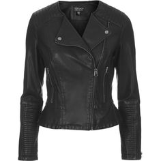 TOPSHOP Faux Leather Peplum Biker Jacket ($45) ❤ liked on Polyvore featuring outerwear, jackets, leather jacket, black, coats & jackets, collarless faux leather jacket, vegan motorcycle jacket, fake leather jacket, faux leather peplum jacket and topshop jackets