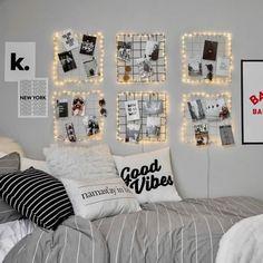 43 Creative Ways Fairy Lights Bedroom Ideas Teen Room Decor Dorm Room Walls, Cool Dorm Rooms, Bed Room, Modern Bedroom Decor, Room Ideas Bedroom, Modern Teen Room, Cute Teen Rooms, Contemporary Bedroom, Bedroom Picture Walls