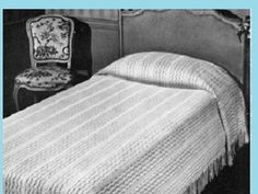 ($2.99) A vintage bedspread to knit using bedspread cotton thread, the size can be adjusted to make a twin, full or a queen size bedspread. Use your favorite color of crochet cotton thread or bedspread cotton to make a one of kind bedspread pattern. Photos and Complete pattern(s) provided This is a PDF Download