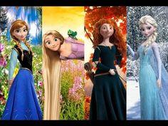 Anna, Elsa, Rapunzel, and Merida (The Four Seasons of Disney?) - Fireflies - YouTube