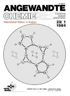 """1984 - The cover shows the structure of a novel hydrocarbon, which, contrary to the Hückel rule is aromatic, despite its 16π-electron periphery. The electronic properties in this """"bicalicene"""" can be described in terms of three mesomeric structures. Further details are reported by Z. Yoshida et al. http://doi.org/csv8cv"""