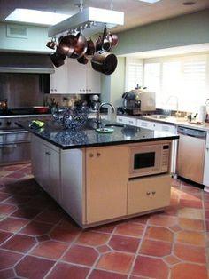 Saltillo Spanish Terra Cotta floor tile in a traditional kitchen