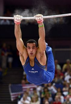 Danell Leyva of the U.S. competes in the horizontal bar at the men's gymnastics qualification in the North Greenwich Arena during the London 2012 Olympic Games July 28, 2012