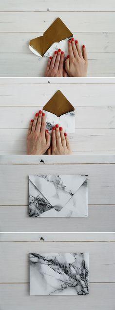 DIY marbled envelopes.