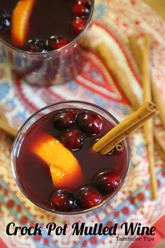 Crock Pot Mulled Wine Recipe! This slow cooker cocktail recipe is perfect for football parties or cold winter days!