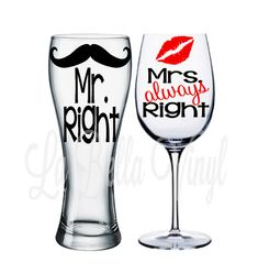 Mr. Right and Mrs. Always Right Beer Mug and Wine Glass Set