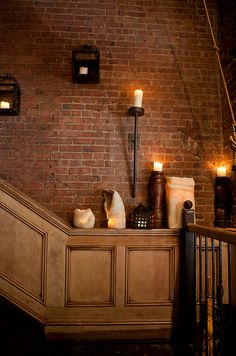 interior, brick wall, first apartment, candle holders, bricks, exposed brick, homes, dream houses, accent walls