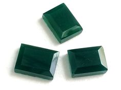 3 pcs Green Onyx Cabochons Green Onyx Rectangle by gemsforjewels