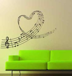 Music Love Heart Notes Wall Art Sticker, Decal, Graphic lv42 with #green couch