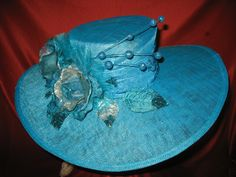 TURQUOISE WITH ROSES - LARGE BRIM