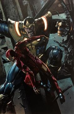 guardianes de la galaxia thanos y ironman