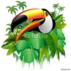 Sold! #Toucan on #Tropical #Plants - #Vector by #BluedarkArt - on #Fotolia