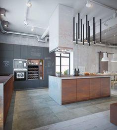 décoration industrielle dans la cuisine moderne, peinture ardoise effet tableau noir et meubles gain de place