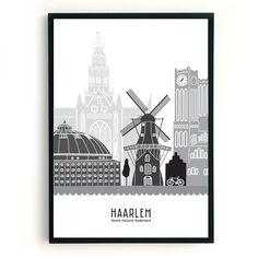 Poster Haarlem zwart-wit-grijs