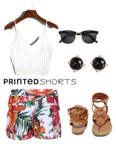 """""""Printed shorts contest"""" by rachavez on Polyvore featuring Ted Baker, Breckelle's, Irene Neuwirth and printedshorts"""