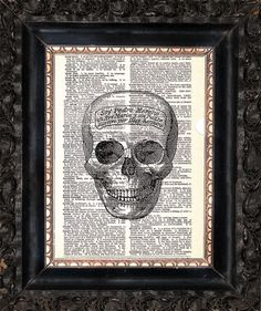 Check out this item in my Etsy shop https://www.etsy.com/listing/471146540/skull-on-dictionary-page-upcycled-book